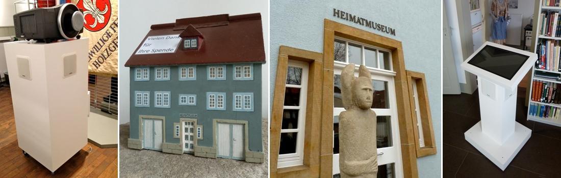 Das Bild zeigt eine Collage zum Projekt Heimatmuseum Holzgerlingen. 2013 erhielt das Heimatmuseum Holzgerlingen neue Medientechnik, wie z.B. mobile Medienwägen mit Projektion und Surround-Sound sowie Medienstelen mit interaktivem Touchpanel.