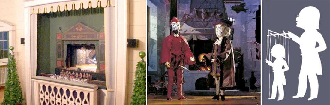 Das Bild zeigt eine Collage des Projekts Marionettentheater Bamberg. Links ist das Bühnenhaus mit zwei kleinen Hautlautsprechern zu sehen, die eine sehr hohe Güte besitzen. Das Gitter der Wandverkleidung beherbergt das Subwoofer-System. Rechts ist ein Scherenschnitt mit Puppe zu sehen. In der Mitte eine Szene aus einem Puppentheater-Stück.