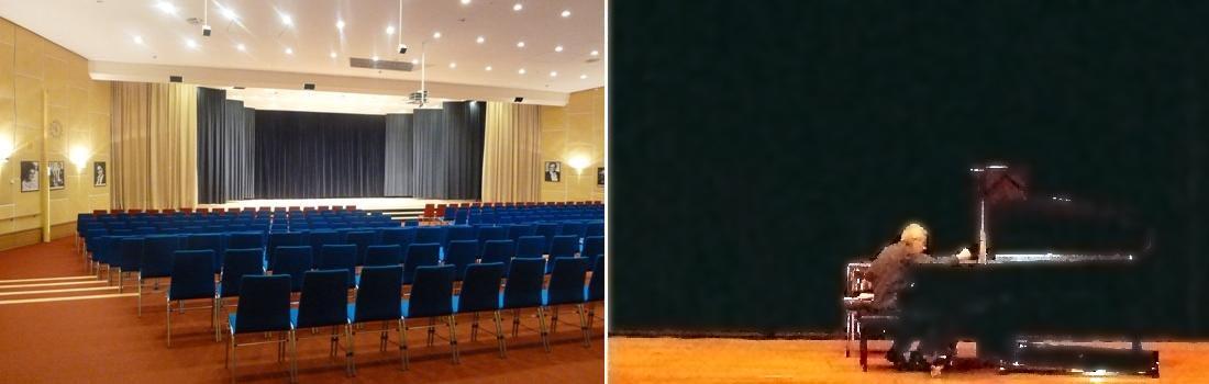 Das Bild zeigt eine Collage des Projekts Wohnstift Rathsberg in Erlangen. Das linke Bild zeigt den Konzertsaal hell erleuchtet mit seiner Bühne und der diskret eingebauten Veranstaltungstechnik. Das rechte Bild zeigt einen großen, hochwertigen Flügel mit einem Klavierbaumeister, der das Instrument sorgsam stimmt.