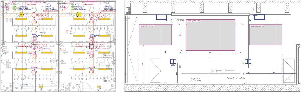 Installationspunkte Lautsprecher und Leinwand, Medientechnik Universität, Hörsaal Medientechnik, Doppelprojektion, Mehrfachprojektion