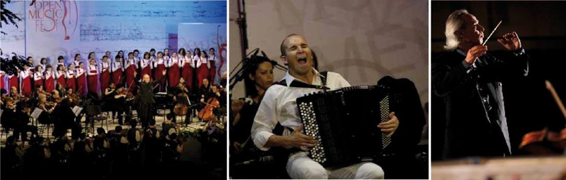 Das Bild zeigt eine Collage des Projekts Open Musik Fest in Yerevan. Links ist ein kleines Orchester mit dem namhaften Dirigenten zu sehen. Im Hintergrund ein Kinderchor. Rechts sieht man den Dirigenten in konzentrierter und motivierter Pose. Das Bild in der Mitte zeigt einen leidenschaftlichen Akkordeon-Spieler aus Italien mit dem armenischen Staatsorchester im Hintergrund.