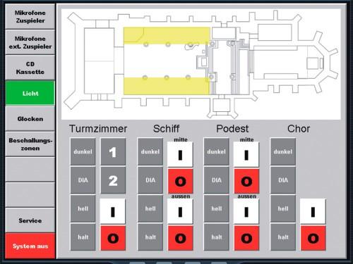 Das Bild zeigt eine Kunden spezifisch programmierte Steueroberfläche, mit Tasten zur Aktivierung von Lichtstimmungen in verschiedenen Raumzonen. Die aktivierten Zonen leuchten im Grundriss auf.