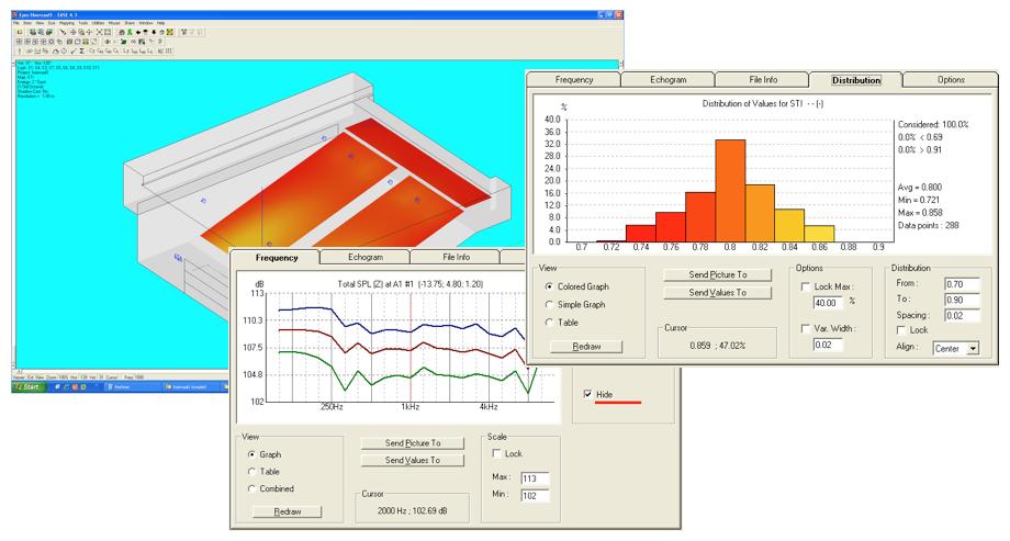 Screenshots einer EASE Simulation zu Pegelverteilung, hochwertige Beschallung, statistische STI Verteilung, Vergleich lokaler Frequenzgänge, homogene Schallpegel Verteilung