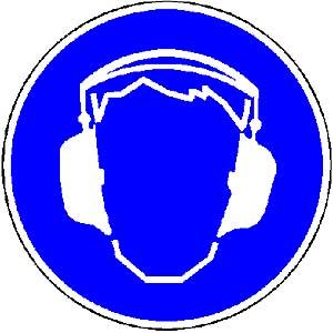 Symbolschild für Schallschutz.