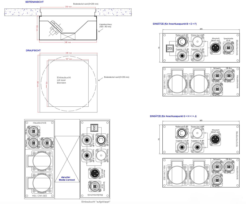 CAD Zeichnung eines Bodentanks, Unterflurbodentank, Medieneinbauten, Medientanks, Ackermann Bodentank, OBO Bettermann Bodentank, Anschlussblenden Medientechnik
