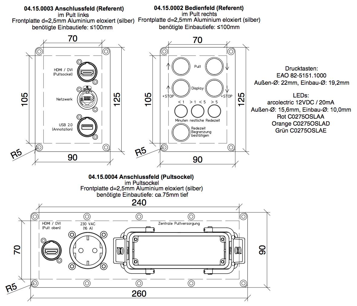 Versatzkasten Anschlussblende, Harting Multipin Steckverbinder, Medienblende, Bedienfeld Medientechnik