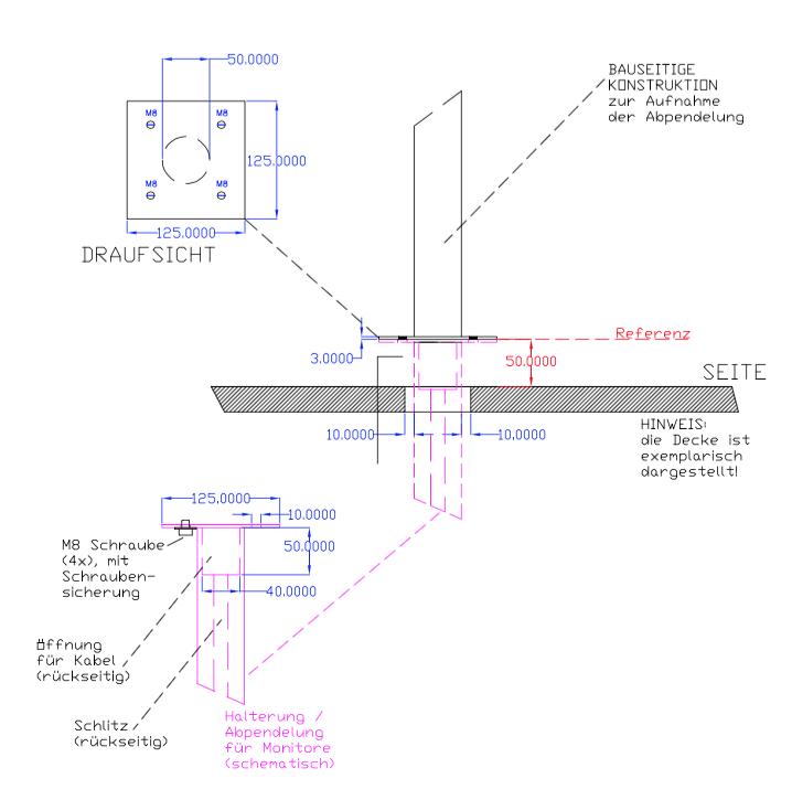 Adapterplatte für Videodisplay, Rohrpendel für LC-Display, Deckenhalterung Display, sondergefertige Deckenhalterung