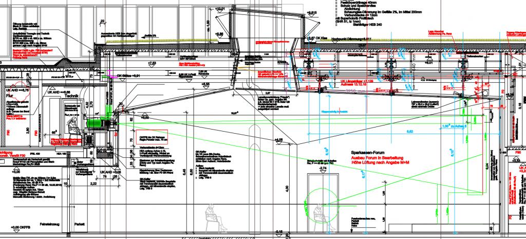 Veranstaltungssaal mit Großprojektion, hochwertige Projektion, Hochleistungsprojektor, motorische Leinwand, Beamer Installation