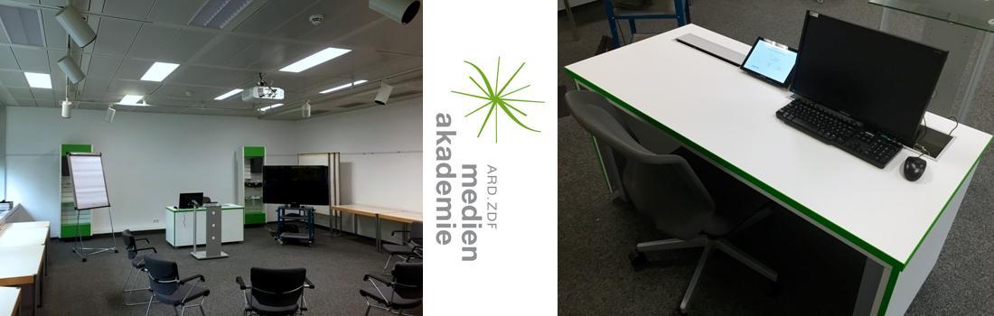 9 Seminarräume, ehemalige Schule für Rundfunktechnik, moderne AV Technik, innovative Touchpanel Oberflächen