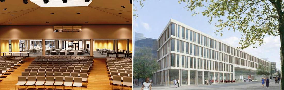 Das Bild zeigt eine Collage zum Projekt KSK Böblingen. Die linke Bildhälfte zeigt Saalinnenraum und das Foyer. Die rechte Bildhälfte zeigt eine fotorealistische Darstellung der Architekten zur Fassade.