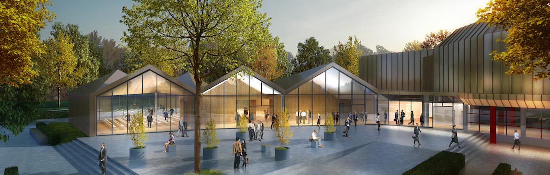Das Bild zeigt eine Visualisierung des Neubaus der Filderhalle in Leinfelden-Echterdingen der HPP Architekten aus Stuttgart, die modernste Veranstaltungs- und Medientechnik erhält.