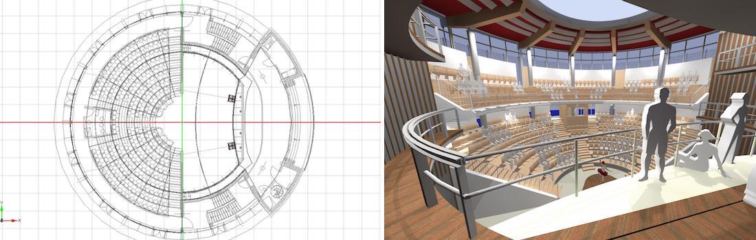Das Bild zeigt auf der linken Bildhälfte einen CAD Grundriss und auf der rechten Hälfte eine 3D Visualisierung des Theaterinnenraumes vom neuen Globe Theater in Schwäbisch Hall.