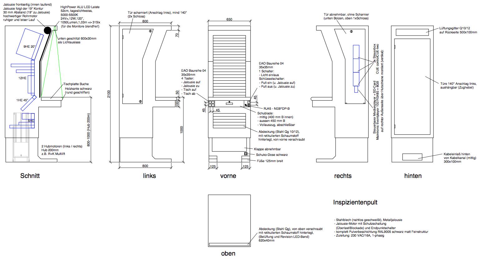 """Das Bild zeigt ein Inspizientenpult mit 19"""" Einbauplatz, motorischer Höhenverstellung und Jalousie."""