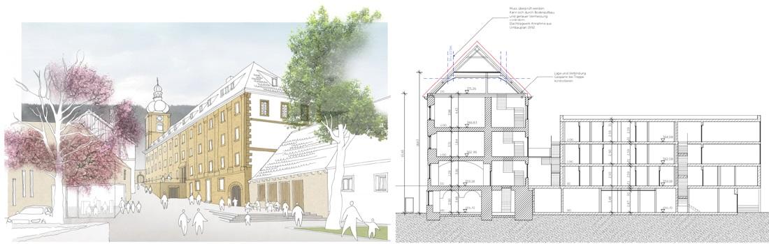 Das Bild zeigt eine grafische Aussenansicht des Klosters in Weißenohe und einen CAD Gebäudeschnitt.