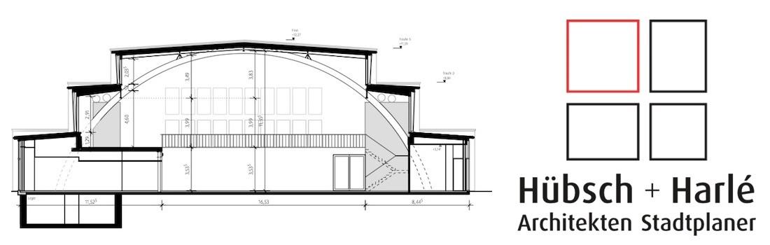 Das Bild zeigt den CAD Querschnitt des Architekturbüros Hübsch Harle, das mit hochwertigster Medientechnik ausgestattet wurde.