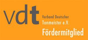Das Bild zeigt das Logo des VDT, Verband Deutscher Tonmeister e.V., der Fördermitglieder