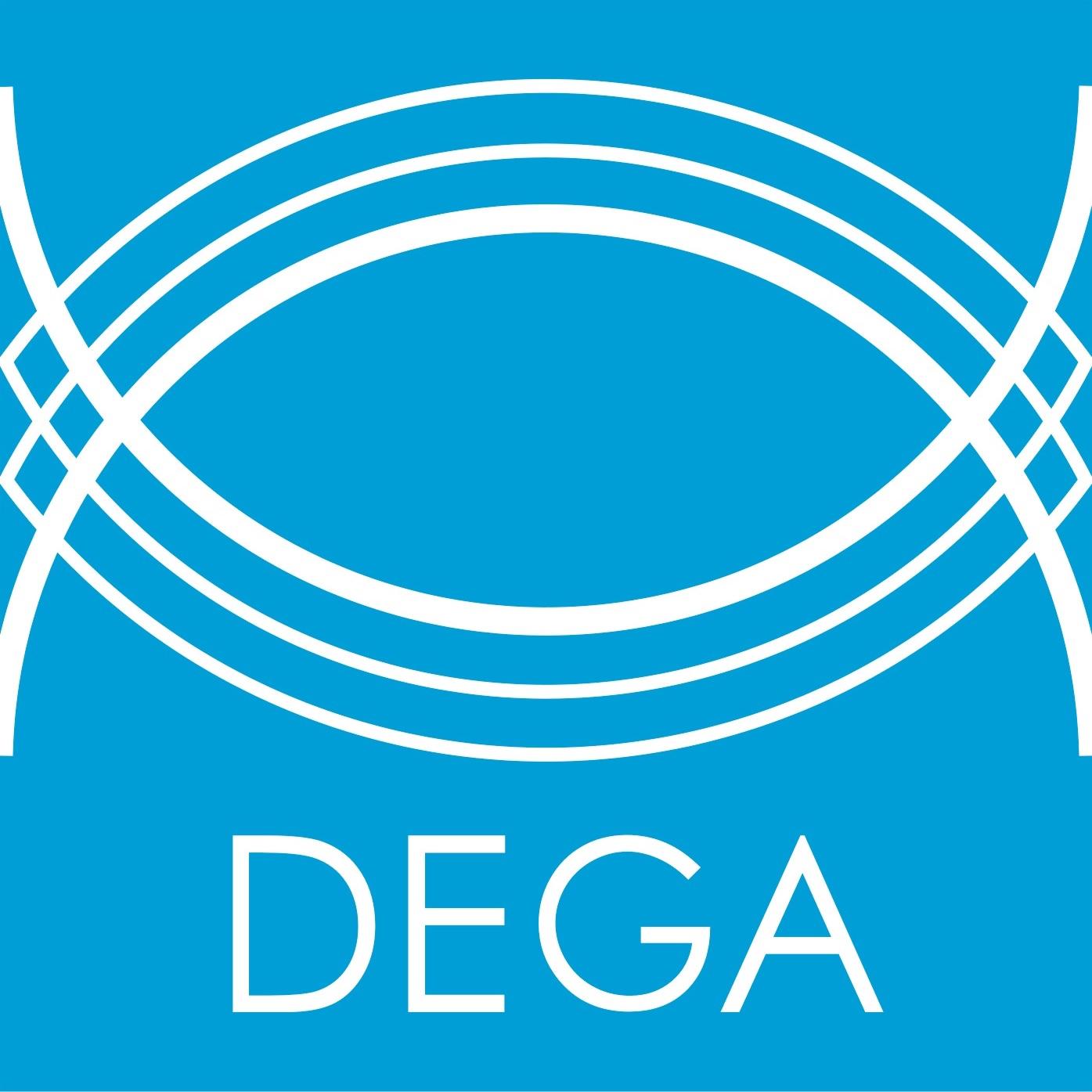 Zeigt das Logo der Deutschen Gesellschaft für Akustik, kurz Dega.