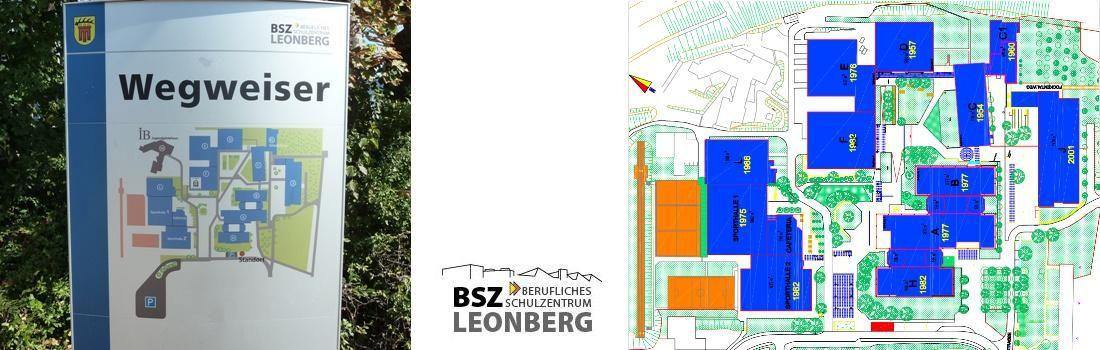 Das Bild zeigt eine Collage zum Projekt BSZ Leonberg. Das linke Bild zeigt den Wegweiser zum Schul-Cambus. Das mittlere Bild zeigt das Logo des Schulzentrums. Das rechte Bild zeigt den Grundriss des Schul-Cambus und die schiere Ausdehnung des Geländes.