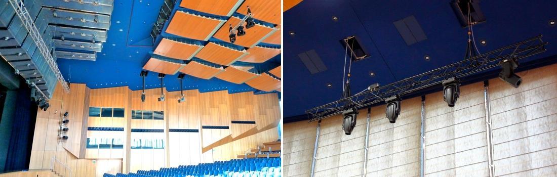 Das Bild zeigt eine Collage zum Projekt Stadthalle Sindelfingen. Das linke Bild zeigt den Saal von der Seite, mit Blick auf die an allen Flächen montierte Beleuchtungstechnik. Das rechte Bild zeigt eine Schwerlast-Traverse mit modernen Moving-Lights, an zwei Punktzügen hängend, die hinter der Saaldecke montiert sind.