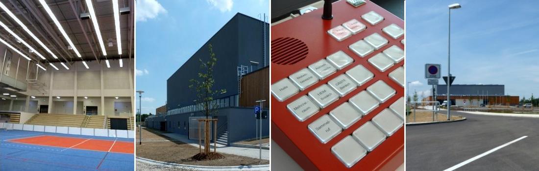 Das Bild zeigt eine Collage zum Projekt Ballsporthalle Vilsbiburg. Links ist die Halle zu einem Viertel zu sehen. Das zweite Bild von links und das Bild ganz rechts zeigt das moderne Großgebäude von aussen. Das zweite Bild von rechts zeigt eine knallrote Feuerwehrsprechstelle.