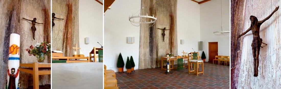 Das Bild zeigt eine Collage zum Projekt Evangelische Kirche Eggenfelden. Das linke Bild zeigt Altar mit einer mächtigen Kerze im Vordergrund. Das linke und rechte Bild zeigen auch Jesus am Kreuz. Das zweite Bild von links zeigt den Altar, mit Blick über den Taufstein. Das zweite Bild von rechts zeigt einen Teilbereich des Kircheninnenraums, mit Blick gen Altar.