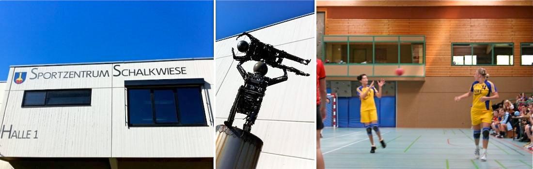Das Bild zeigt eine Collage zum Projekt Sporthalle 1 Schalkwiese in Ehningen. Das linke Bild zeigt das Gebäude von aussen, schräg von unten, mit dem Schriftzug Sportzentrum Schalkwiese Halle 1. Das rechte Bild zeigt die Halle von innen, bei einem professionellen Handballspiel. Das mittlere Bild zeigt eine dynamisch wirkende Statue von zwei Ringkämpfern, gefertigt aus verrostetem Stahl.