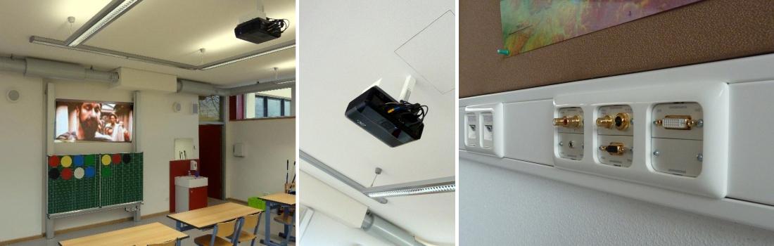 Das Bild zeigt eine Collage zum Projekt Grund- und Hauptschule Bad Rodach. Das linke Bild zeigt ein typisches Klassenzimmer mit einer kontrastreichen Videoprojektion, obwohl der Klassenraum hell erleuchtet ist. Die Projektion ist oberhalb der Schultafel. Rechts sieht man ein dreifaches Anschlussfeld in einem Kabelkanal, zum Anschluss der Medientechnik. Das mittlere Bild zeigt einen Videoprojektor mit Sonderhalterung und Revisionsklappe in der Decke.
