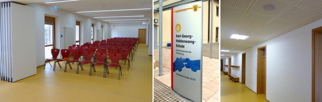 Das Bild zeigt eine Collage zum Projekt KGH Berufsvorbereitende Schule in Leonberg. Das linke Bild zeigt einen teilbaren Raum in geöffneter Variante, mit rotem Gestühl. Das rechte Bild zeigt den hell erleuchteten Flur mit Deckenlautsprecher. Das mittlere Bild zeigt den Eingangsbereich mit Namenstafel der Schule.