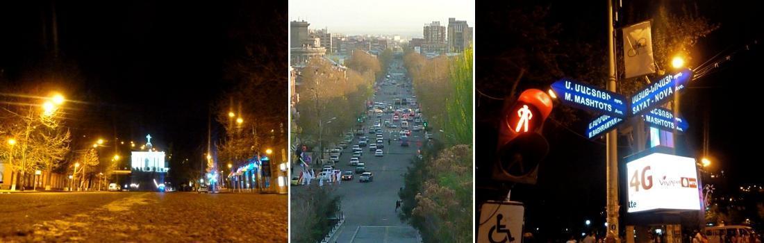 Das Bild zeigt eine Collage zum Projekt Maschtots Avenue in Yerevan. Das linke und mittlere Bild zeigt die Allee, einmal bei Tag, einmal bei Nacht. Das rechte Bild zeigt ein Strassenschild an der Hauptkreuzung bei Nacht. Die Beschallung wurde an vorinstallierten Masten montiert. Hierbei musste der passende Lautsprechertyp gefunden werden, um die optimalste Beschallung mit effektiven Installationszeiten zu ermitteln.