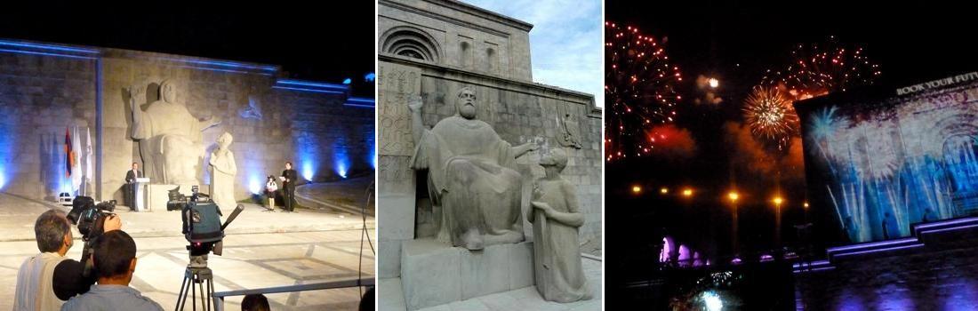 Das Bild zeigt eine Collage zum Projekt Museum Yerevan. Das linke Bild zeigt eine Ansprache der Unesco, bei Nacht, mit einem Fernsehteam im Vordergrund. Die Mitte zeigt Matenadaran, als Namensgeber des Museums. Vor ihm kniet ein kleiner Junge. Das rechte Bild zeigt das Museum bei Nacht, mit farbenfrohem Feuerwerk von den Bergen der Stadt. Die Fassade des historischen Museums wird dabei mit einer Videoprojektion beaufschlagt.