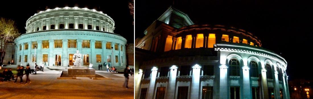 Das Bild zeigt eine Collage zum Projekt Oper und Ballett-Theater Yerevan. Beide Bilder zeigen das mit Architekturpreis gekürte Gebäude von aussen bei Nacht.