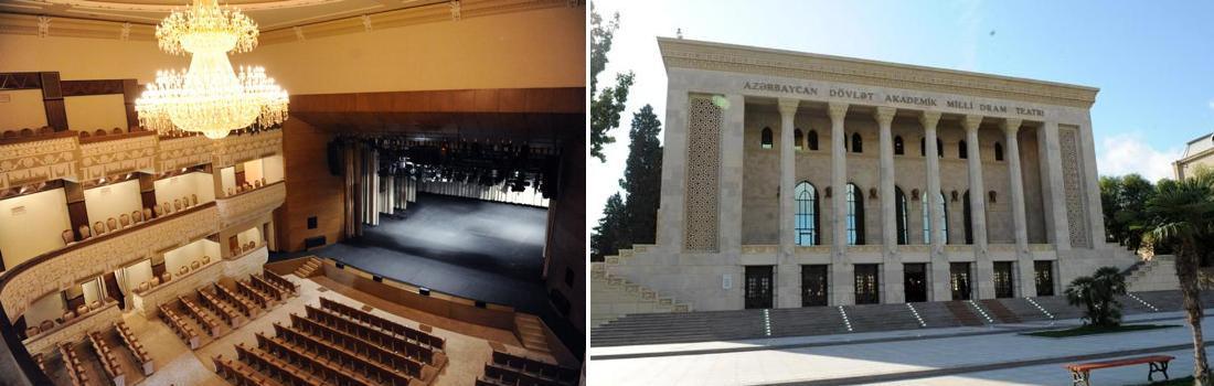 Das Bild zeigt eine Collage des Projekts Dramatheater in Baku, Azerbaidschan. Das linke Bild zeigt den prachtvollen Theatersaal mit gigantischen Kronleuchter. Das rechte Bild zeigt den Theater-Haupteingang mit seinen massiven Steinquadern.