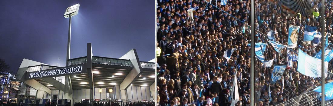 Das Bild zeigt eine Collage des Projekts Rewir power Stadion in Bochum. Links ist das Stadion bei Nacht zu sehen, das rechte Bild zeigt einen kleinen Ausschnitt der vollen Fantribüne.