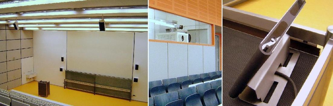 Das Bild zeigt eine Collage vom Projekt Institut für Kardiologie und Physiologie in Erlangen. Links ist der Hörsaal von der obersten Reihe aus zu sehen. Man sieht die Projektionsfläche, die Tafeln und Lautsprecher. In der Mitte ist der abgeschlossene Technikraum mit Glasscheibe zu sehen, wo ein Hochleistungsprojektor dahinter positioniert ist. Rechts ist ein Designer-Touchpanel zu sehen, das in Funktechnik arbeitet.