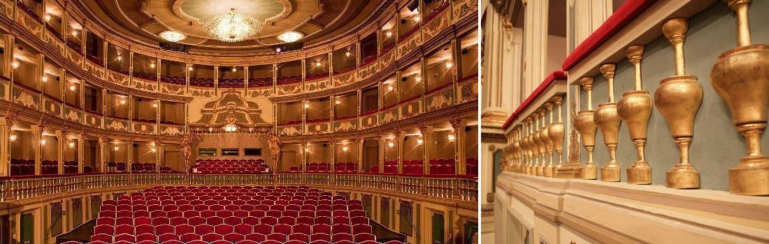 Das Bild zeigt eine Collage zum Projekt Markgrafen-Theater. Links ist der prunkvolle Theatersaal zu sehen, wobei jede Loge hell erleuchtet ist. Rechts ist eine kunstvolle Balustrade einer Loge zu sehen.
