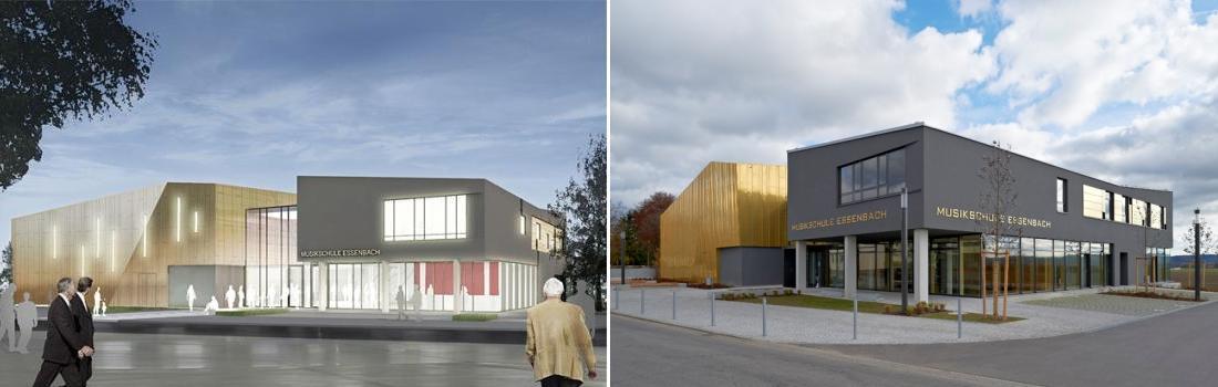 Das Bild zeigt eine Collage zum Projekt Musikschule Essenbach. Beide Bilder sind fotorealistische Darstellungen der Architekten. Links sieht man das wunderschöne Gebäude strahlend erleuchtet von Aussen, in Abendstimmung. Rechts sieht man das Gebäude, mit teils goldener Fassade am Tage, bei bayrisch weiß-blauem Himmel.