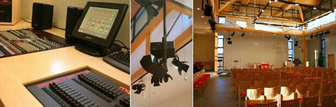 Das Bild zeigt eine Collage des Projekts Christuskirche in Heiligenstadt. Links ist ein kleiner Teil der Regie zu sehen. Rechts ein Teil des Saals mit seiner Balkonkonstruktion und der geplanten Medientechnik. In der Mitte ist eine spezielle Lautsprecherabhängung dargestellt, die keinerlei Kabel etc zeigt.