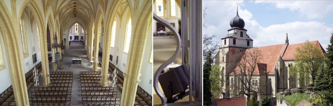 Das Bild zeigt eine Collage zum Projekt Stiftskirche Herrenberg. Das linke Bild zeigt die historische Kirche von der Empore aus, gen Altar. Das rechte Bild zeigt die Kirche von aussen. Das mittlere Bild offenbart einen versteckt installierten speziellen Kleinlautsprecher hinter dem Emporengitter.