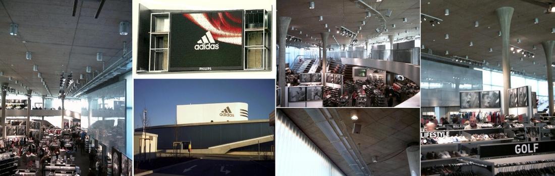 Das Bild zeigt ein Collage des Projekts Adidas Factory Outlet Center in Herzogenaurach. Es werden sechs Bilder dargestellt, die das Center von Ihnen und aussen sehen. Eine Videowall zeigt das Firmenlogo. Daneben ein spezielles Line-Array-System.