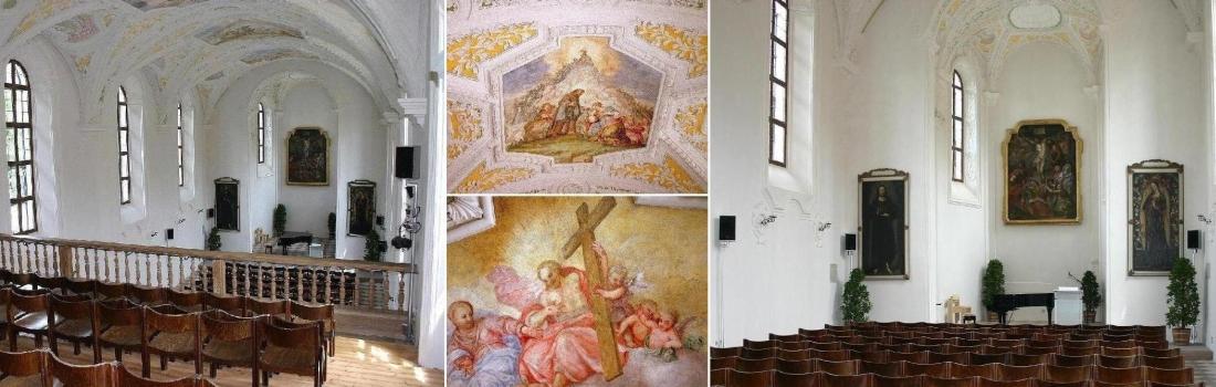 Das Bild zeigt eine Collage des Projekts Heiligkreuz Kirche in Landshut. Sie wird für kulturelle Veranstaltungen genutzt und erhielt hochwertige Medientechnik. Hierfür war eine aufwendige Planung der Lautsprecheranlage notwendig, was wegen der speziellen Raumakustik und den strikten Denkmalschutzauflagen geschuldet ist.