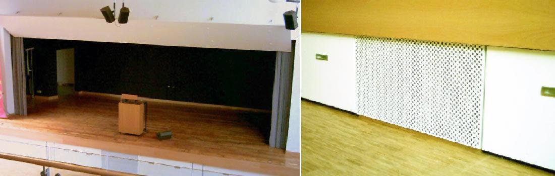 Das Bild zeigt eine Collage des Projekts Heidehof-Gymnasium in Stuttgart. Rechts ist die Theaterbühne mit Bühnenhaus und Vorhang zu sehen. Auf der Bühne steht ein Rednerpult mit Monitorabhörlautsprecher. Darüber die LCR Beschallung. Das rechte Bild zeigt ein Gitter, in dem hochwertige Hochleistungs-Subwoofer montiert sind.