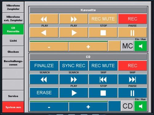 Das Bild zeigt eine Kunden spezifisch programmierte Steueroberfläche, mit Steuerelementen für Audiozuspielgeräten.