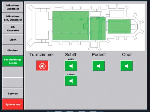 Das Bild zeigt eine Kunden spezifisch programmierte Steueroberfläche, mit Grundriss des Raumes und Auswahltasten zum Ein- und Ausschalten von Lautsprecherzonen. Die aktivierten Zonen leuchten im Grundriss grün.
