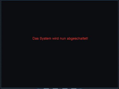 Das Bild zeigt eine Kunden spezifisch programmierte Steueroberfläche, mit Hinweis, dass das medientechnische System abgeschaltet wird.