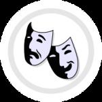 Das Bild zeigt eine so genannte Persona Maske, die heute als Sinnbild für das Theater an sich gilt. Die wurde früher u.a. zur Schallverstärkung genutzt.