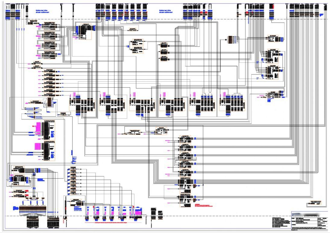 Das Bild zeigt ein Systemblockschaltbild für den Anlagenteil Audio eines großen Mediensystems.