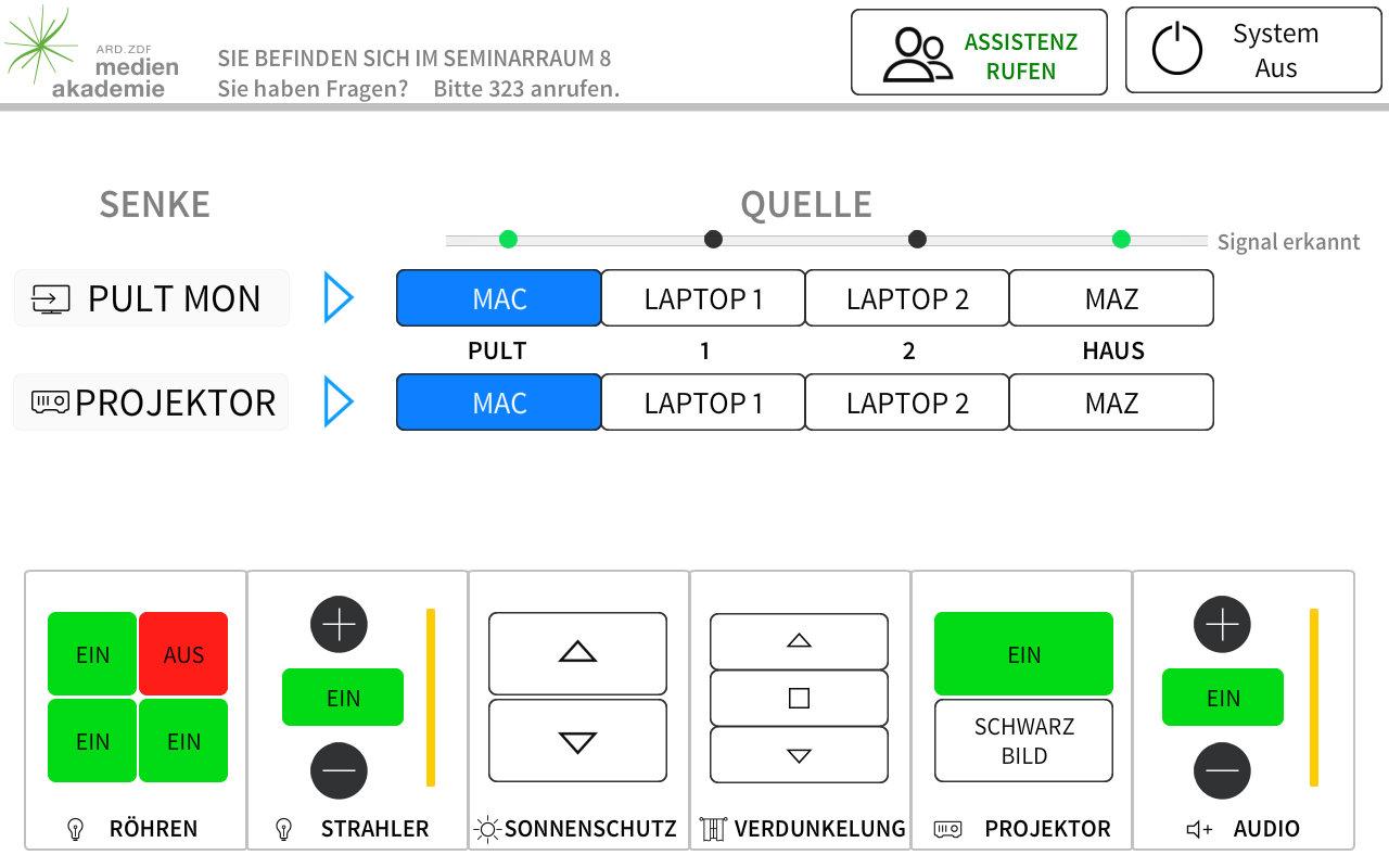 Das Bild zeigt eine individuell erstellte, intuitive Bedienoberfläche eines modernen Mediensteuerungssystems.