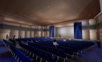 Das Bild zeigt ein Visualisierung des neuen Konzertsaals im Wohnstift Nürnberg, aus dem Saal gen Bühne.