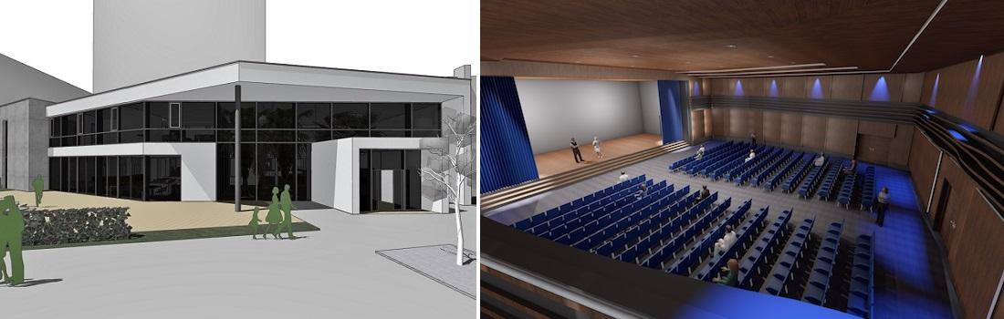 Das Bild zeigt das Wohnstift von aussen und den neuen Konzertsaal von innen als Architekturskizze.