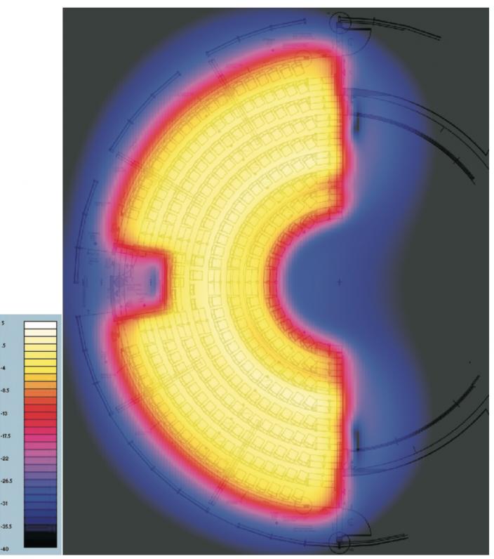 Das Bild zeigt die Magnetfeldsimulation für eine induktive Hörschleife in einem Theater.